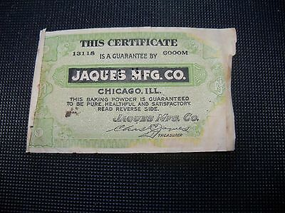 Vintage Jaques Mfg. Co. Certificate Guarantee