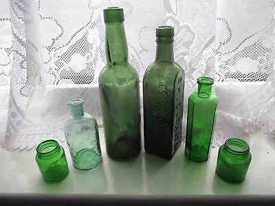 6x GREEN CHEMIST MEDICINE APOTHECARY POISON VINTAGE OLD GLASS BOTTLES