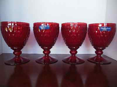 "NEW Villeroy & Boch Boston Coloured Red Water Goblet 5 5/8"" Set of 4 Germany"