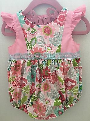 Sew Serene Handmade Floral Romper 12-18 Months Lace Riffled EUC Easter Boutique
