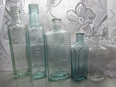 5x VINTAGE OLD ANTIQUE CHEMIST MEDICINE APOTHECARY CURE GLASS BOTTLES NOT POISON