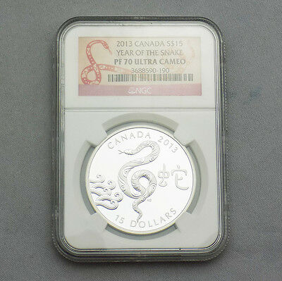 2013 Canada $15 Year of Snake 1oz Silver Coin - NGC Graded PF 70