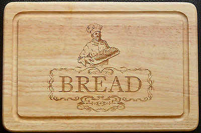 Laser Etched Engraved Chopping Cutting Bread Board with Baker Image