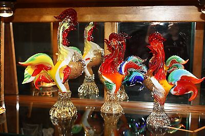 Murano glass set of 3 cockerels
