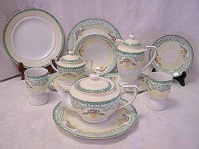 Noritake Morimura Hand Painted Teapot~Creamer~Sugar Bowl~Gold Crown Green Wreath