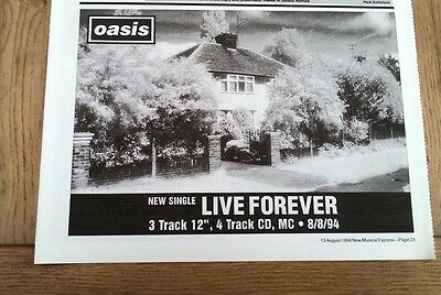 OASIS Live Forever 1995 UK Press ADVERT 12x8 inches