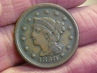 1850  Braided Hair  Large  Cent  Nice Grade  Great  Coin