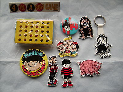 Collection of 7 Beano Character Lapel Badges +1 Beano Keyring + 1 Beano Game