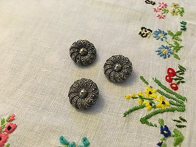 Set of Three vintage Marcasite and Glass Buttons