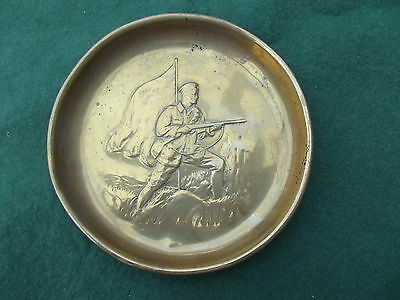 Vintage Brass Pin Dish With Military Figure