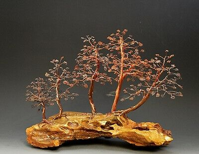 Forest Bonsai Style Copper Wire Tree Art Sculpture  - 2240