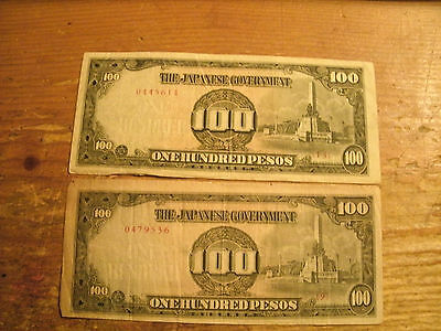 2 - One Hundred Pesos The Japanese Government Note - Wwii Invasion Currency