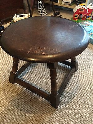 Lovely wood round retro 1970's coffee table Original Patina  Solid oak