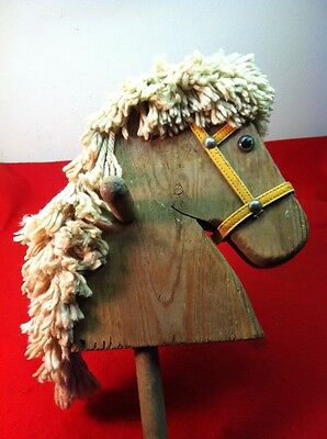 Vintage Child's Riding Stick Hobby Horse Pony Wooden Head Toy