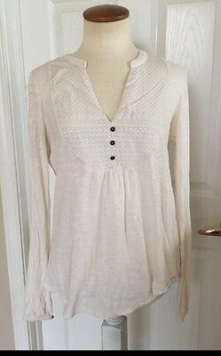Lucky Brand Women's Long Sleeve White Top Blouse Size M