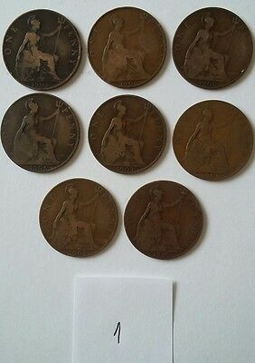 Edward VII penny coins 1902, 1903, 1905, 1906, 1907, 1908, 1909 and 1910