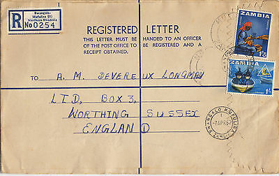 NORHERN RHODESIA ZAMBIA (021a) 1966 reg. let.  stamped to ENGLAND