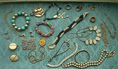 Old Vintage Collection 24 items Costume Jewellery earrings sterling pendant Z1