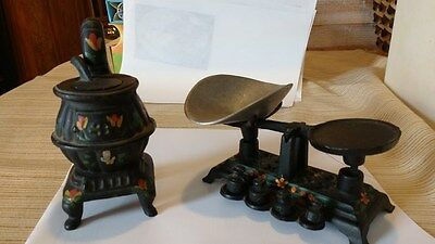 Vintage Cast Iron Salesman Sample Pot Belly Stove & Balanced scale, with weights
