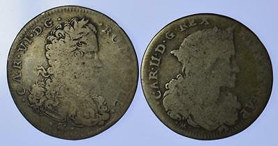 Italian States - Naples and Sicily 20 Grana Coins 1694 + 1715 (2 coins)
