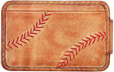 Rawlings Leather Goods Baseball Stitch Front Pocket Wallet w/ Money Clip - Tan