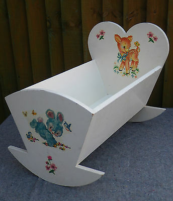 VINTAGE 1950/60s DECORATED PAINTED WOODEN BABY DOLL/TEDDY BEAR ROCKING CRADLE