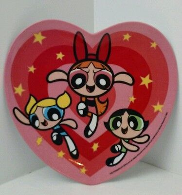 Vintage 1999 THE POWERPUFF GIRLS Heart Shaped Plastic Plate Zak Designs