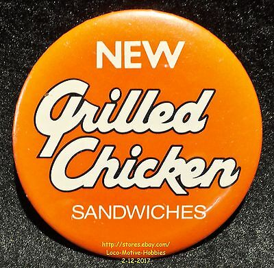 LMH PINBACK Button Pin  ARBY's Promo  GRILLED CHICKEN  New Sandwiches 1990