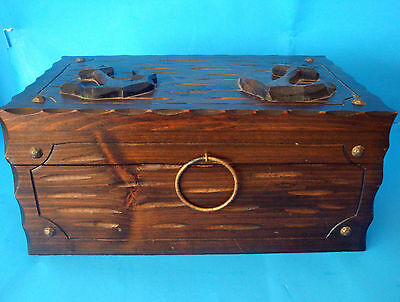 Vtg Carved Notched Nautical Anchors Dk Brn Wood Hinged Chest Box Brass Rivets