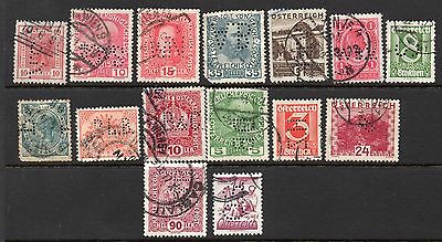 Austria x 15 Used Perfins See Scans For Full Detail & Condition Etc