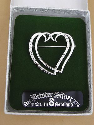 Vintage Kirk O'Fields Art Pewter Silver Entwined Hearts Brooch Engagement Gift.
