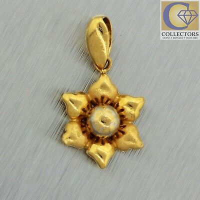Vintage Estate 22k Solid Yellow Gold Flower Charm Pendant for Necklace/Bracelet