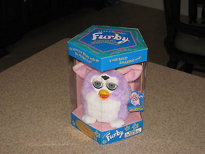 Tiger 1998 Purple & White Electronic Furby Limited Model 70-884 New In Box