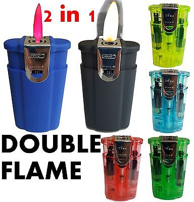 Double Flame Jet Lighter Windproof Refillable Butane Gas For Cigarettes Thin New