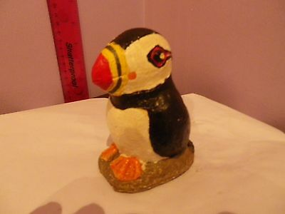 Fab Collectable Pottery/ Plaster Puffin Bird Figure 11 Cms Tall