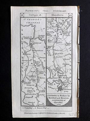 Paterson 1785 Road Map. Cardigan, Gloucester, Llanymddovry, Llanbeder