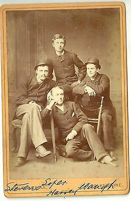 Victorian cabinet card photo four young men  Folkestone   photographer