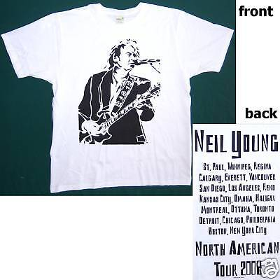 Neil Young Live Silhouette Tour 2008 Wht T-Shirt M New