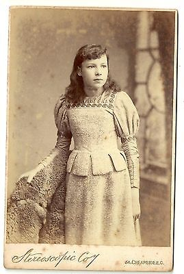Victorian cabinet card young girl standing pale dress  London photographer