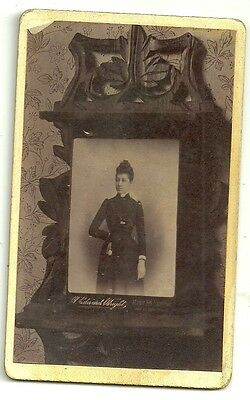 Victorian cdv  photo of a Cabinet photo on shelf wooden unstated  photographer
