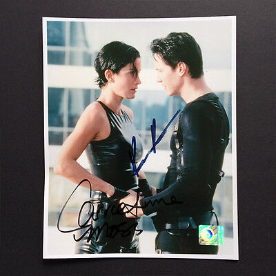 Keanu Reeves & Carrie-Anne Moss Dual-Autographed 8x10 Photo The Matrix COA