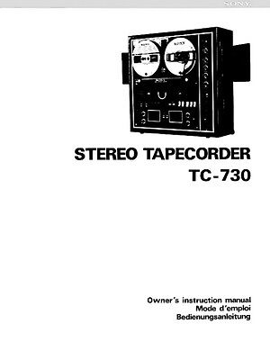 Sony TC-730 Tape Deck Owners Manual