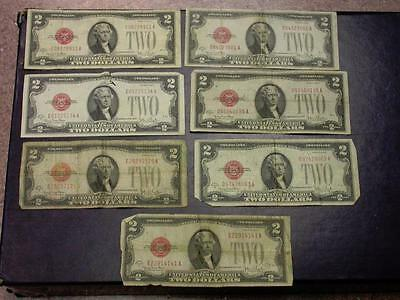 1928 $2 RED SEAL LEGAL TENDER NOTES QUANTITY OF 7 notes- ID# G52