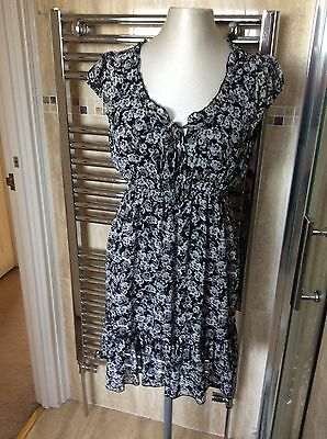 LADIES NEW LOOK DRESS SIZE 12, Black Floral chiffon Floaty Summer Dress