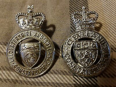 2 x Genuine British Police Cap Badges