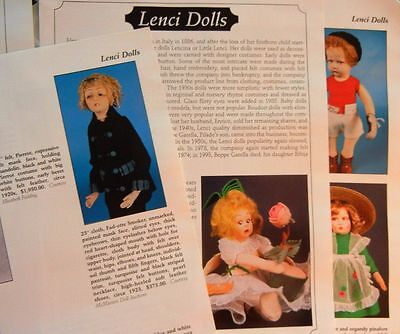 8p Color Identification History -  Antique Early Lenci Cloth Dolls