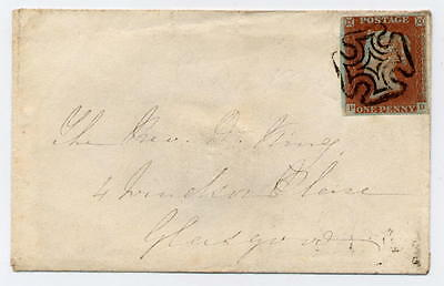 1841 1d red-brown Pl. 21, PD tied to cover SUPERB GREENOCK distinctive Maltese X