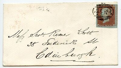 1851 cover 1d red-brown Plate 94 KI LARGE MARGINS Manchester numeral