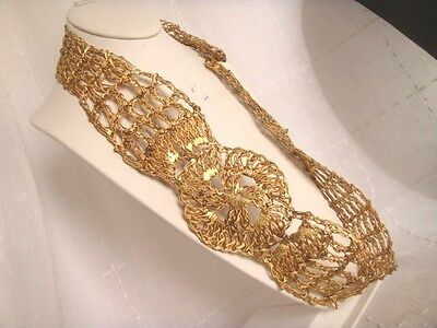 """Vintage GREEK 24k GOLD PLATED DIPPED BELT CABLE WIRE 34"""" 1960s GREECE"""