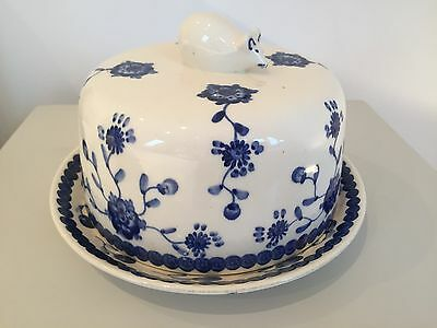 Blue and White Cheese Plate and Bell Mouse handle